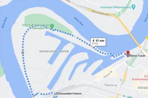 Walk alongside the Rhine from Düsseldorf Hamm to Rhinetower and Media Harbor. #travel #Germany #walkingadventure